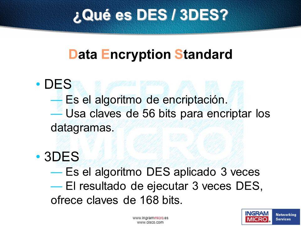 www.ingrammicro.es www.cisco.com ¿Qué es DES / 3DES? Data Encryption Standard DES Es el algoritmo de encriptación. Usa claves de 56 bits para encripta