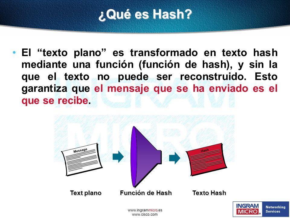 www.ingrammicro.es www.cisco.com ¿Qué es Hash? El texto plano es transformado en texto hash mediante una función (función de hash), y sin la que el te