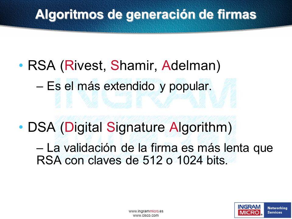 www.ingrammicro.es www.cisco.com Algoritmos de generación de firmas RSA (Rivest, Shamir, Adelman) – Es el más extendido y popular. DSA (Digital Signat