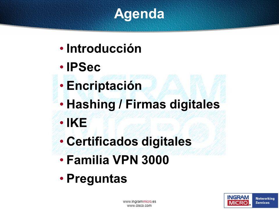 www.ingrammicro.es www.cisco.com Agenda Introducción IPSec Encriptación Hashing / Firmas digitales IKE Certificados digitales Familia VPN 3000 Pregunt