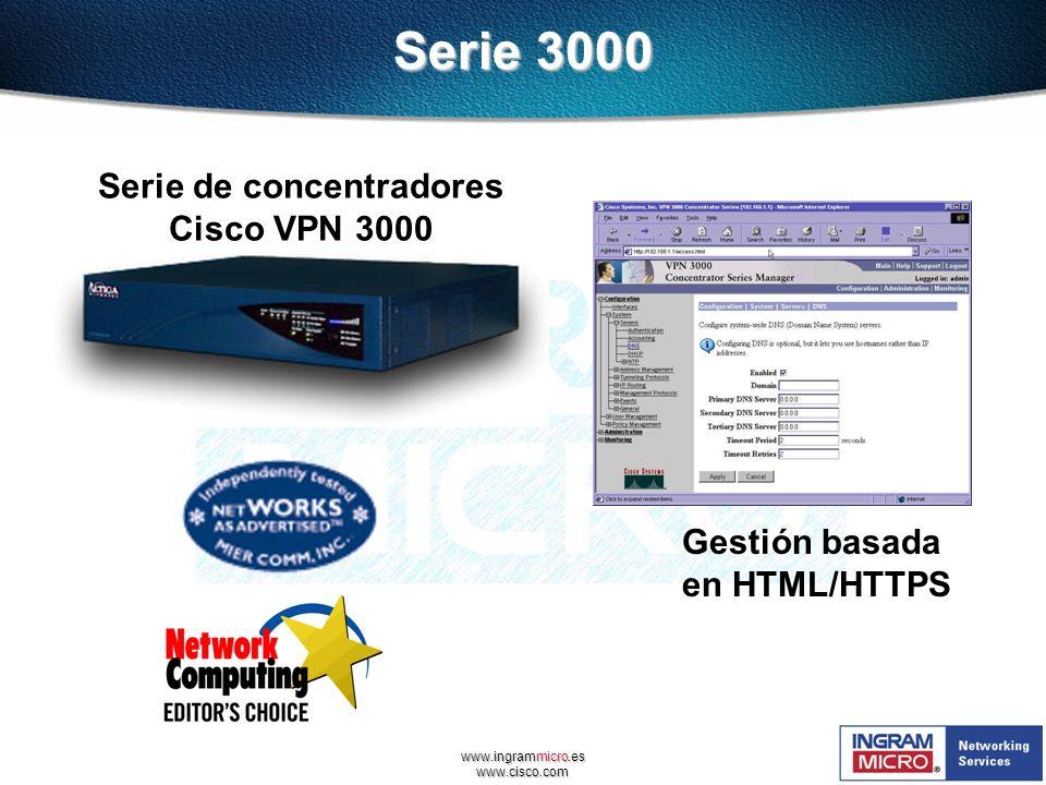 www.ingrammicro.es www.cisco.com Serie de concentradores Cisco VPN 3000 Gestión basada en HTML/HTTPS Serie 3000