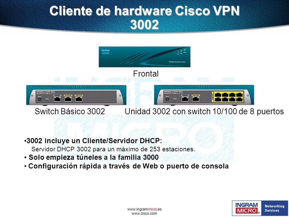 www.ingrammicro.es www.cisco.com Cliente de hardware Cisco VPN 3002 Frontal Switch Básico 3002 Unidad 3002 con switch 10/100 de 8 puertos 3002 incluye