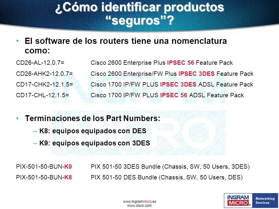 www.ingrammicro.es www.cisco.com ¿Cómo identificar productos seguros? El software de los routers tiene una nomenclatura como: CD26-AL-12.0.7=Cisco 260