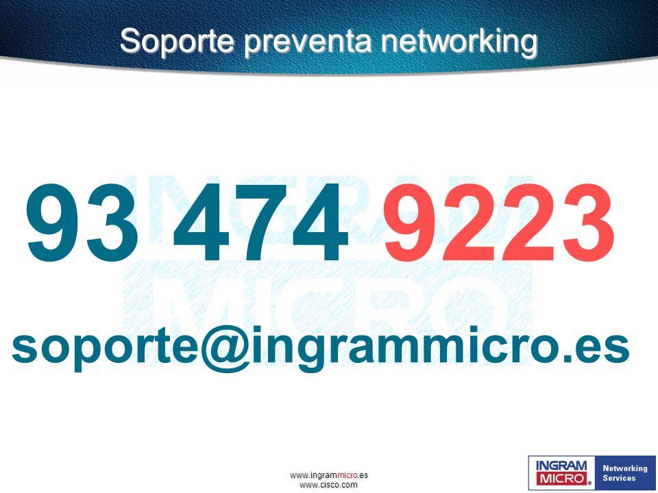 www.ingrammicro.es www.cisco.com 93 474 9223 soporte@ingrammicro.es Soporte preventa networking