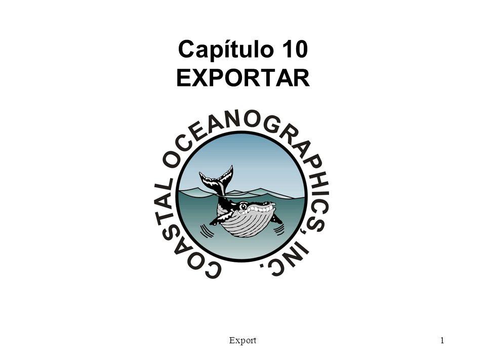 Export2 EXPORTAR El programa de EXPORTAR está situado bajo el menú de productos Finales de MAX El propósito principal es exportar archivos de HYPACK® a DXF o a DGN.