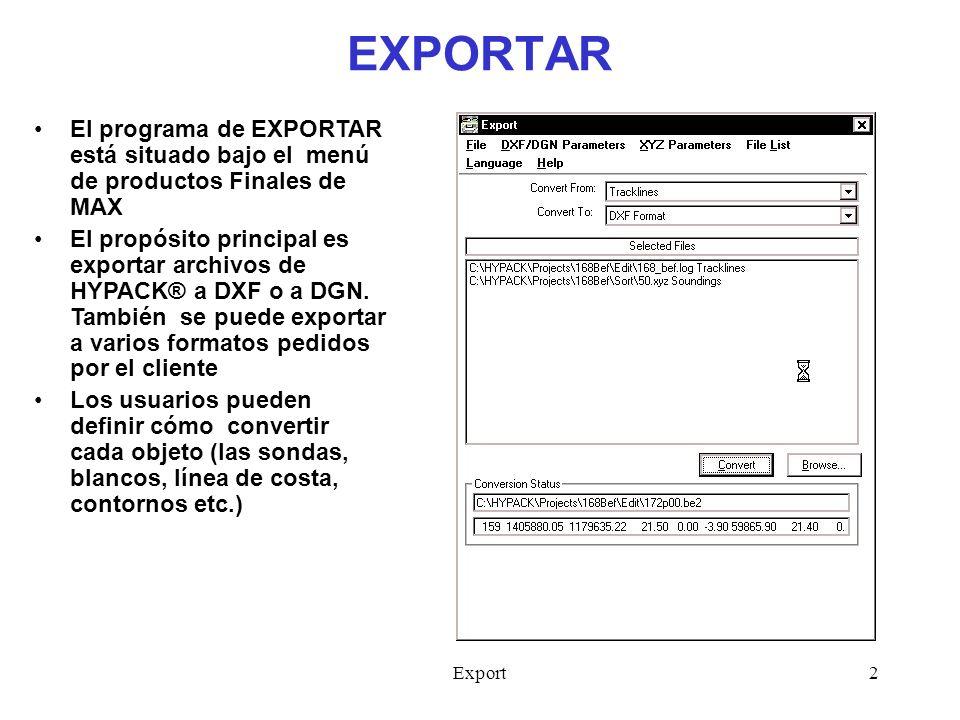 Export3 EXPORTAR – Sumario 1.Seleccione el tipo del Archivo que desea convertir en el área de Convertir Desde 2.Seleccione Buscar e indique el Archivo que desea convertir.
