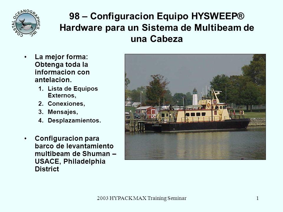2003 HYPACK MAX Training Seminar2 98 – Dispositivos Externos: Conexiones y Mensajes Componentes del sistema de multibeam del S/V Shuman Conexion a todos los dispositivos es via communicacion serial RS232.