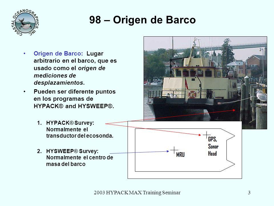 2003 HYPACK MAX Training Seminar4 98 – Dispositivos Externos: Desplazamientos Desplazamientos medidos desde el punto de referencia del barco en HYSWEEP®.