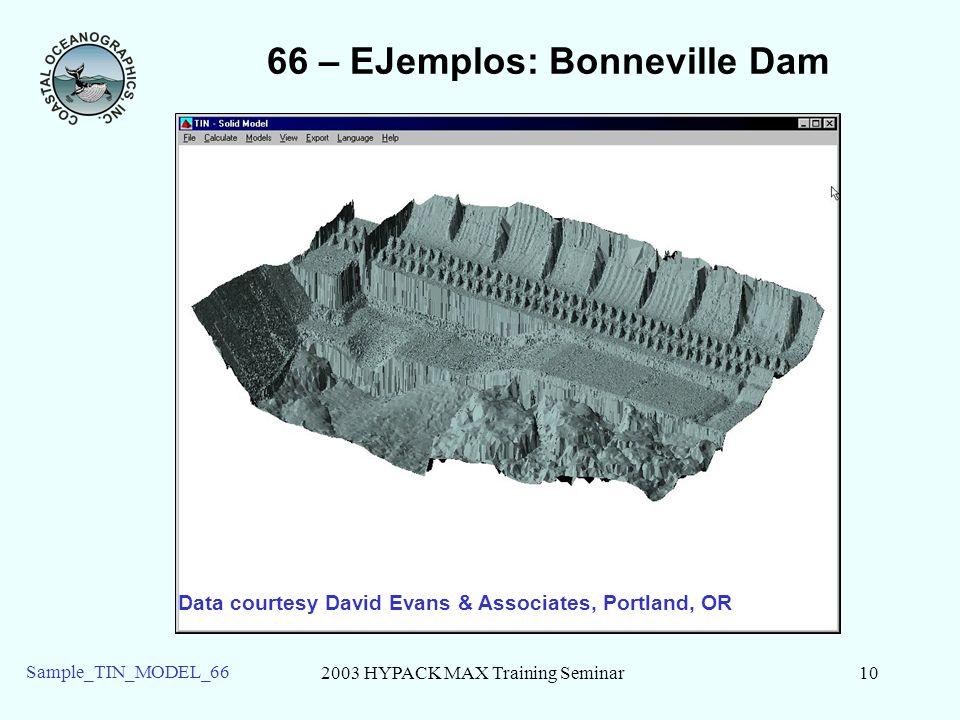 2003 HYPACK MAX Training Seminar10 Sample_TIN_MODEL_66 66 – EJemplos: Bonneville Dam Data courtesy David Evans & Associates, Portland, OR