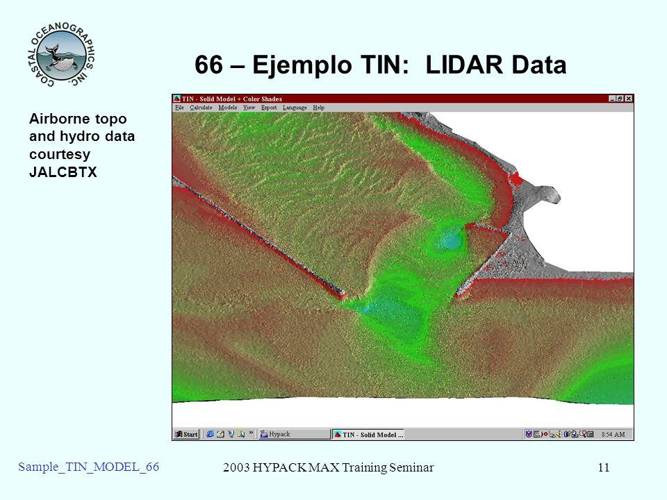 2003 HYPACK MAX Training Seminar11 Sample_TIN_MODEL_66 66 – Ejemplo TIN: LIDAR Data Airborne topo and hydro data courtesy JALCBTX