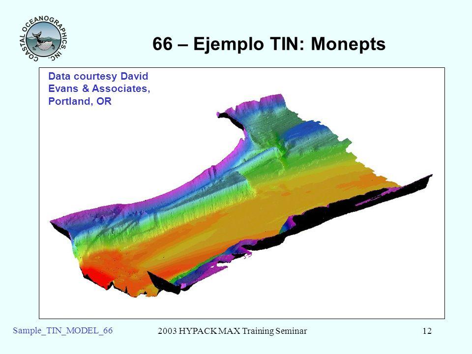 2003 HYPACK MAX Training Seminar12 Sample_TIN_MODEL_66 66 – Ejemplo TIN: Monepts Data courtesy David Evans & Associates, Portland, OR