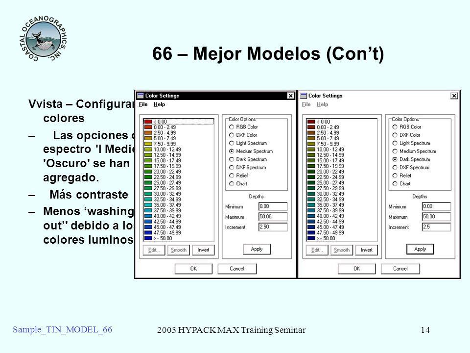 2003 HYPACK MAX Training Seminar14 Sample_TIN_MODEL_66 66 – Mejor Modelos (Cont) Vvista – Configurar colores – Las opciones de espectro 'l Medio' y 'O