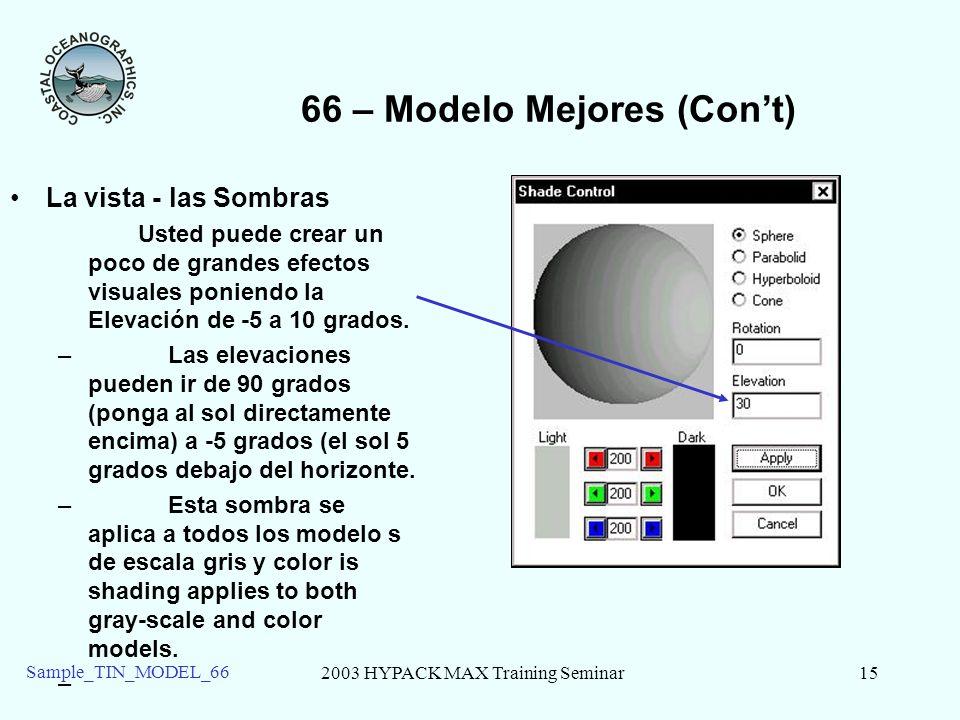 2003 HYPACK MAX Training Seminar15 Sample_TIN_MODEL_66 66 – Modelo Mejores (Cont) La vista - las Sombras Usted puede crear un poco de grandes efectos