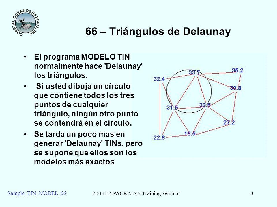 2003 HYPACK MAX Training Seminar3 Sample_TIN_MODEL_66 66 – Triángulos de Delaunay El programa MODELO TIN normalmente hace 'Delaunay' los triángulos. S