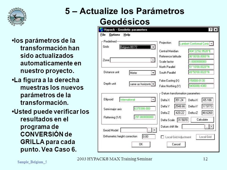 2003 HYPACK® MAX Training Seminar12 5 – Actualize los Parámetros Geodésicos los parámetros de la transformación han sido actualizados automaticamente