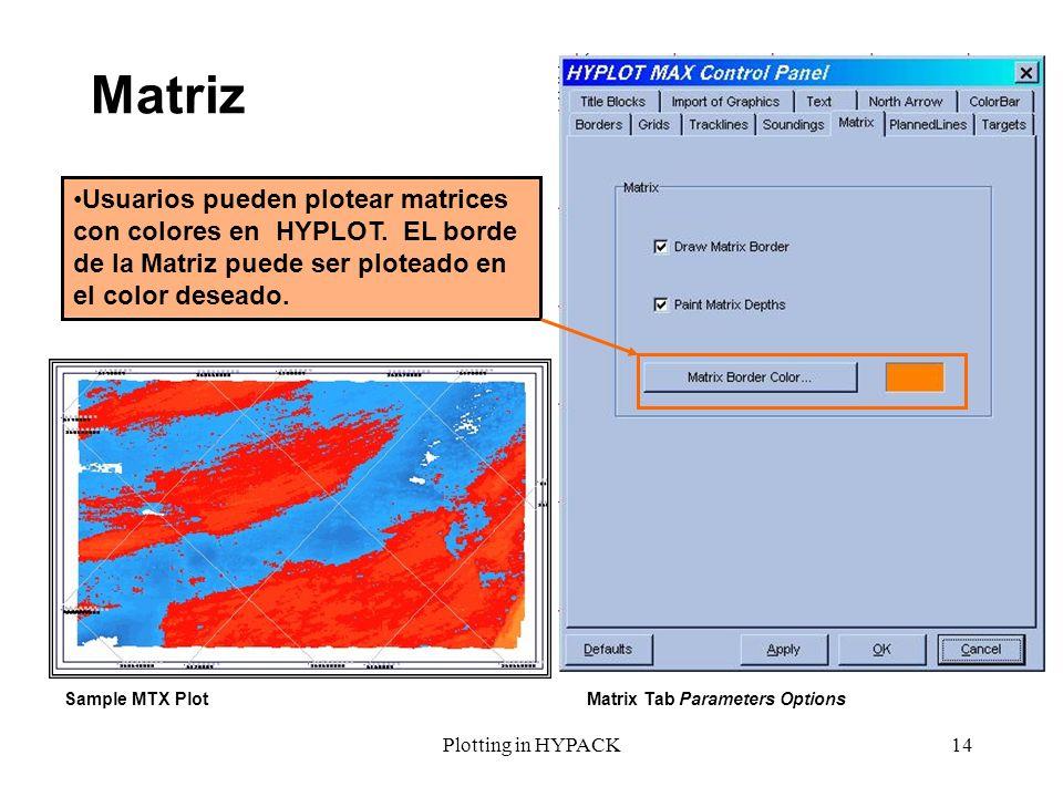 Plotting in HYPACK14 Matriz Sample MTX PlotMatrix Tab Parameters Options Usuarios pueden plotear matrices con colores en HYPLOT. EL borde de la Matriz