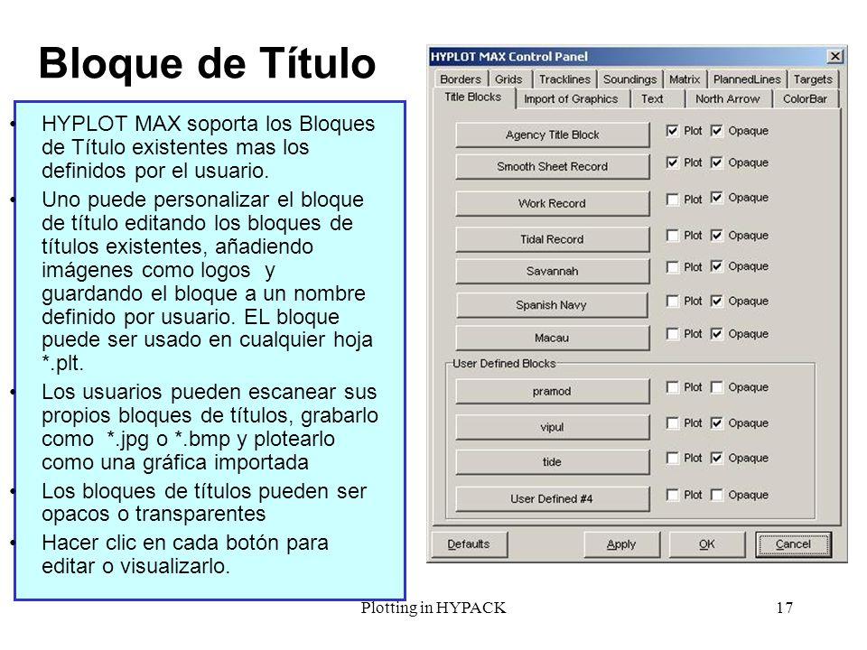 Plotting in HYPACK17 Bloque de Título HYPLOT MAX soporta los Bloques de Título existentes mas los definidos por el usuario. Uno puede personalizar el