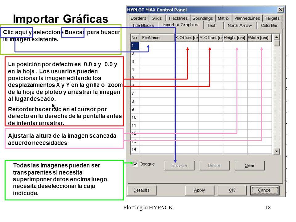 Plotting in HYPACK18 Importar Gráficas Clic aquí y seleccione Buscar para buscar la imagen existente. La posición por defecto es 0.0 x y 0.0 y en la h