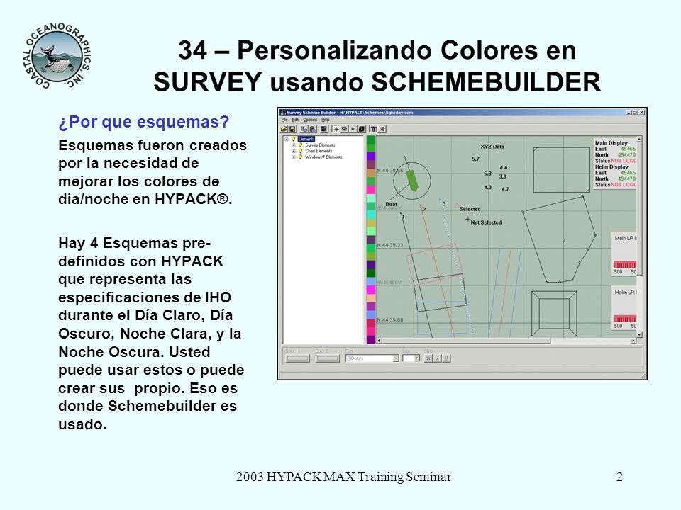 2003 HYPACK MAX Training Seminar3 34 – Personalizando Colores en SURVEY usando SCHEMEBUILDER Pantalla de SchemeBuilder Lista de Elementos Ventana de Prevista Area de Seleccion de Colores
