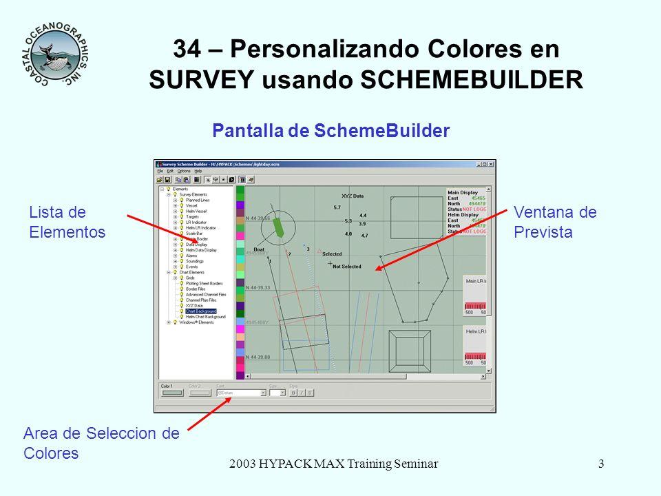 2003 HYPACK MAX Training Seminar3 34 – Personalizando Colores en SURVEY usando SCHEMEBUILDER Pantalla de SchemeBuilder Lista de Elementos Ventana de P