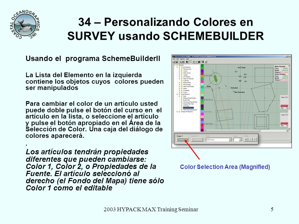 2003 HYPACK MAX Training Seminar5 34 – Personalizando Colores en SURVEY usando SCHEMEBUILDER Usando el programa SchemeBuilderII La Lista del Elemento