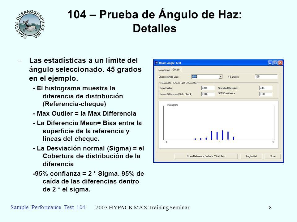2003 HYPACK MAX Training Seminar8 Sample_Performance_Test_104 104 – Prueba de Ángulo de Haz: Detalles –Las estadísticas a un límite del ángulo seleccionado.