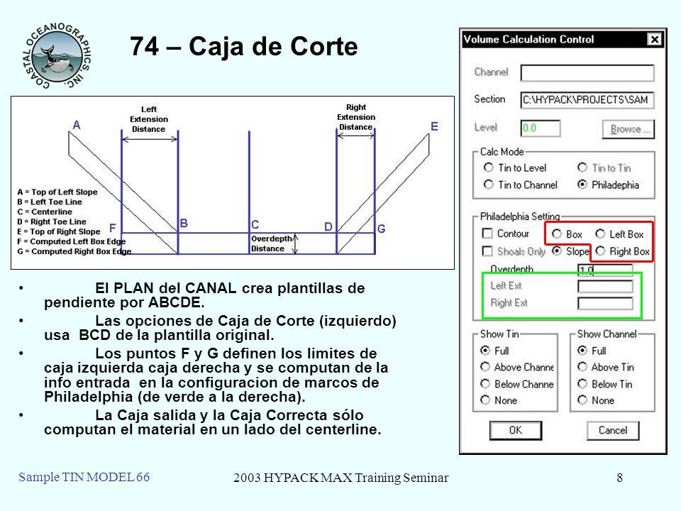 2003 HYPACK MAX Training Seminar9 Sample TIN MODEL 66 74 – Bajios Solo Los bajíos Sólo computará sólo material del sobredragado en las áreas de extensión de caja si el fondo mediera a la línea del puntal es menos profunda que la profundidad del plan.