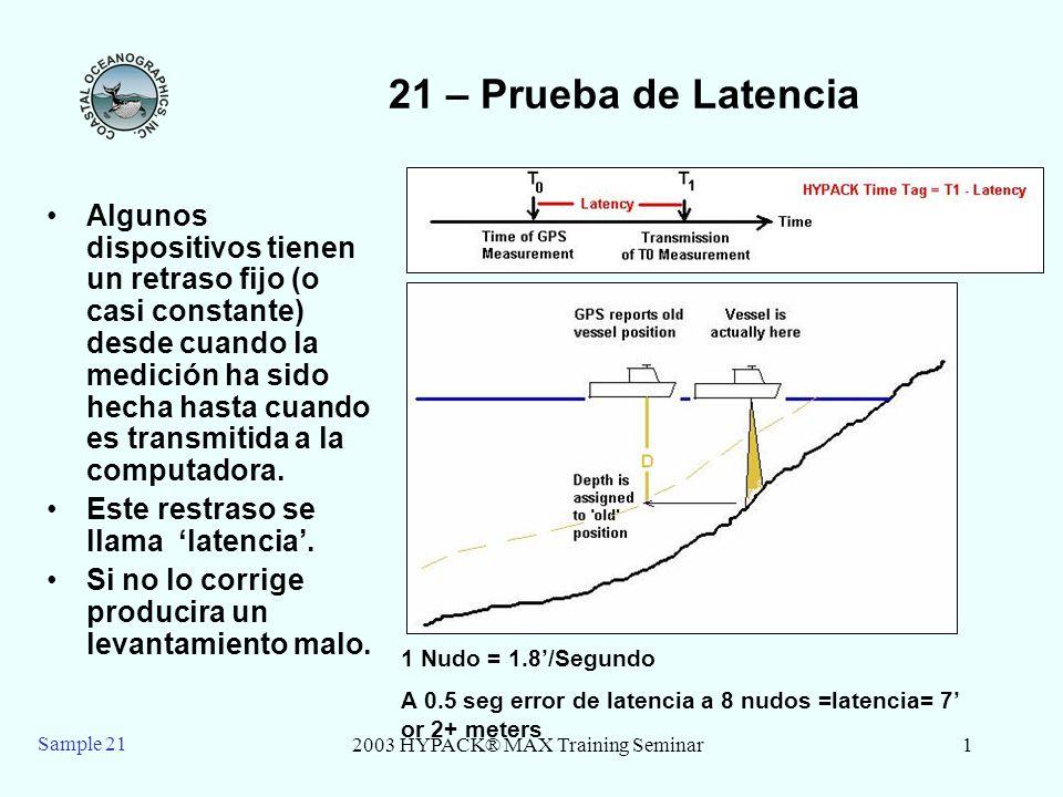 2003 HYPACK® MAX Training Seminar2 Sample 21 21 –Prueba de Latencia de Haz Simple - Teoria Para determinar el valor de la latencia combinada, corra líneas de levantamiento reciprocas sobre una zona con una prominente estructura o arriba/abajo de un banco.