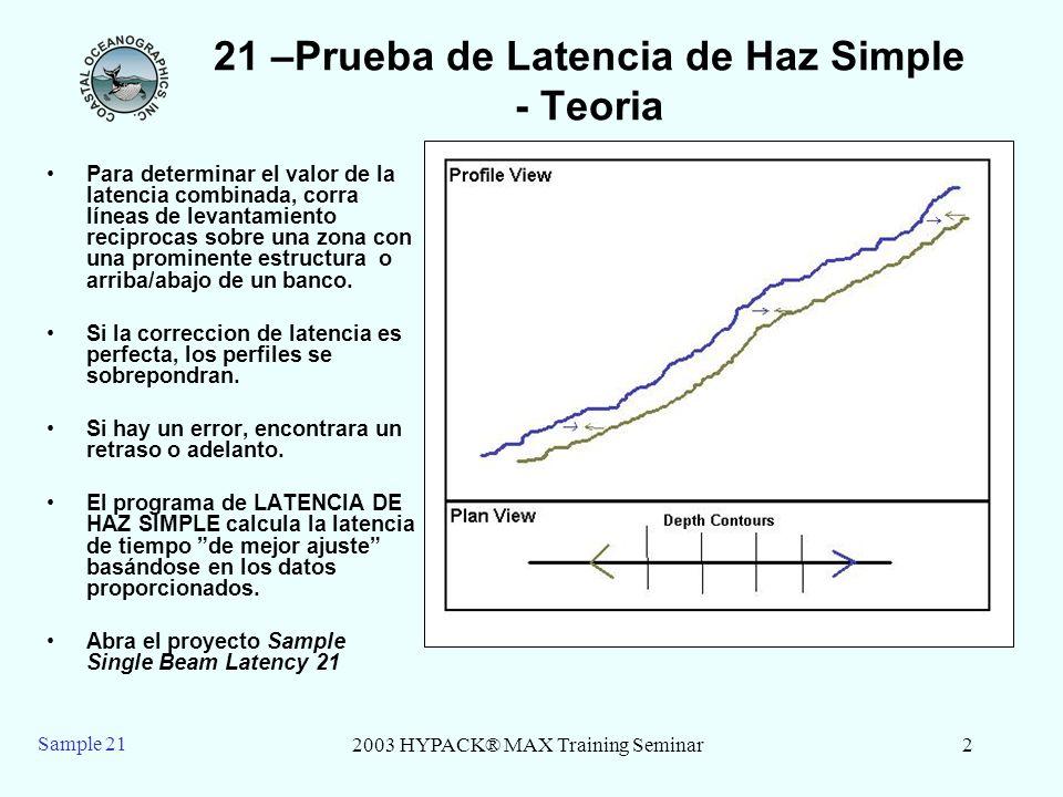 2003 HYPACK® MAX Training Seminar2 Sample 21 21 –Prueba de Latencia de Haz Simple - Teoria Para determinar el valor de la latencia combinada, corra lí