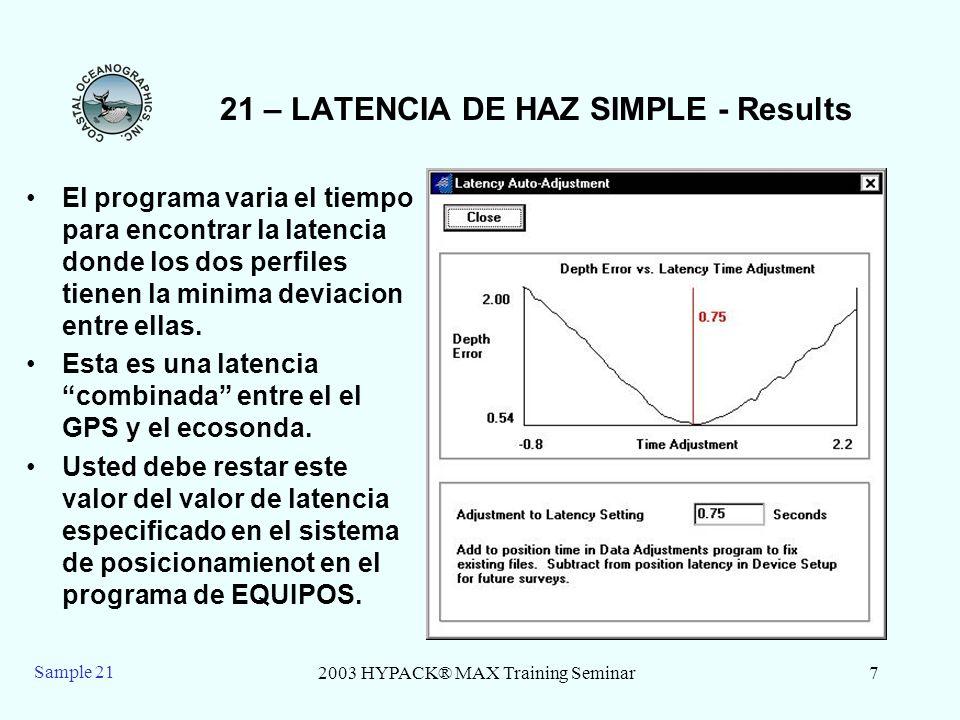 2003 HYPACK® MAX Training Seminar7 Sample 21 21 – LATENCIA DE HAZ SIMPLE - Results El programa varia el tiempo para encontrar la latencia donde los do