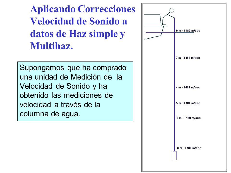 Aplicando Correcciones Velocidad de Sonido a datos de Haz simple y Multihaz. Supongamos que ha comprado una unidad de Medición de la Velocidad de Soni