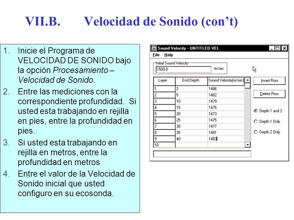 VII.B.Velocidad de Sonido (cont) 1.Inicie el Programa de VELOCIDAD DE SONIDO bajo la opción Procesamiento – Velocidad de Sonido. 2.Entre las medicione