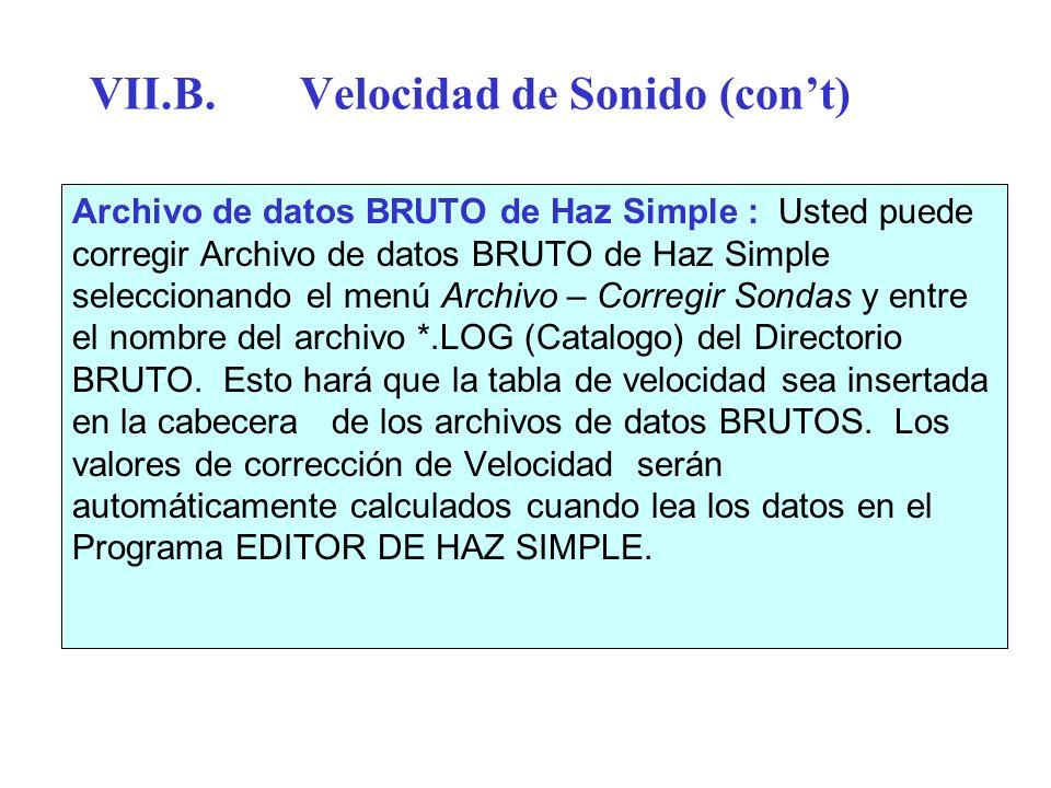 VII.B.Velocidad de Sonido (cont) Archivo de datos BRUTO de Haz Simple : Usted puede corregir Archivo de datos BRUTO de Haz Simple seleccionando el men