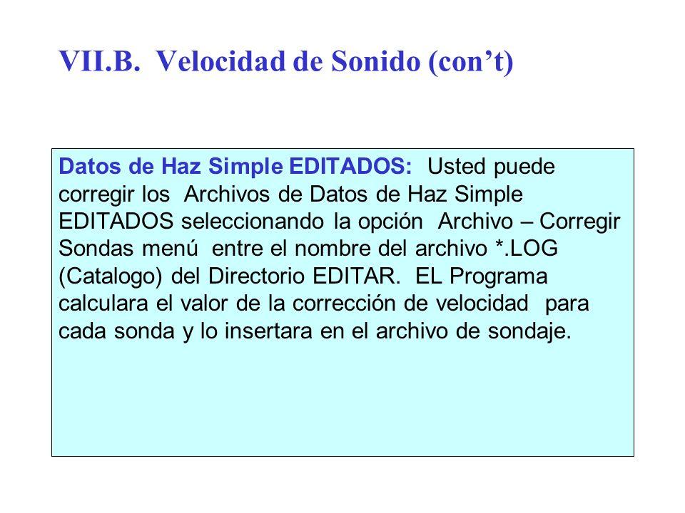 VII.B. Velocidad de Sonido (cont) Datos de Haz Simple EDITADOS: Usted puede corregir los Archivos de Datos de Haz Simple EDITADOS seleccionando la opc
