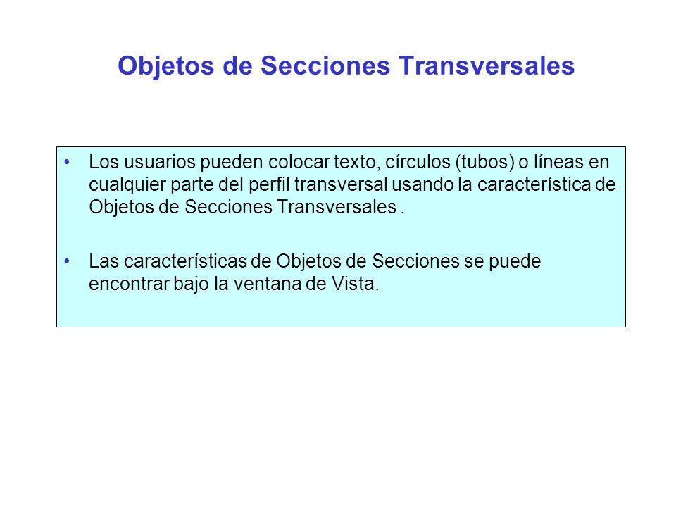 Objetos de Secciones Transversales Editor de Objetos > < Vista Secciones Transversales