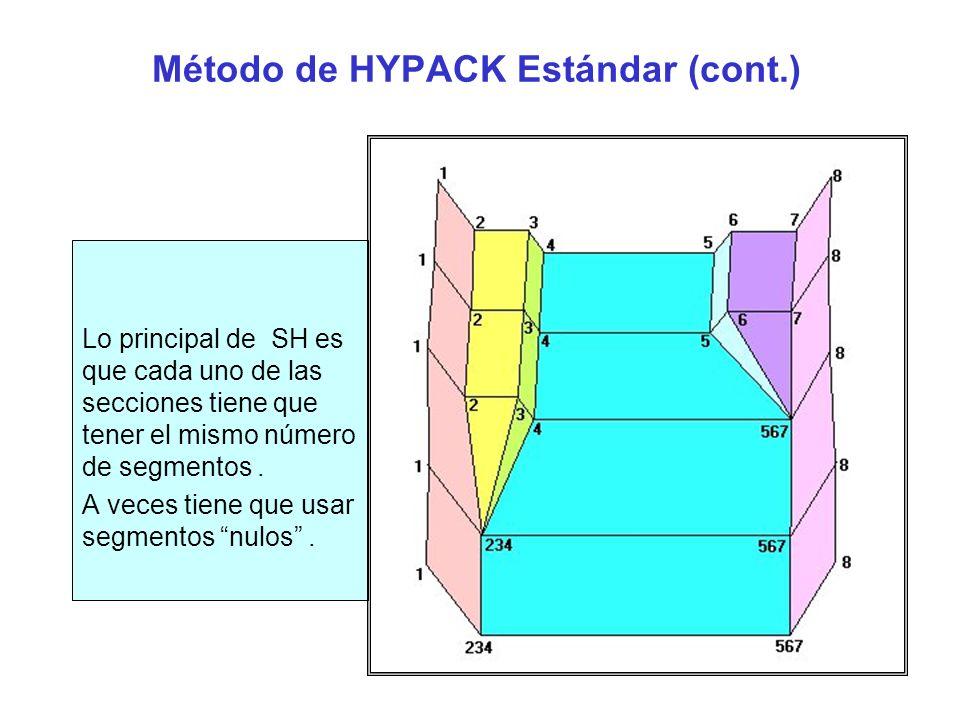 Estándar HYPACK ® Ejemplo Después de seleccionar el método Estándar HYPACK en la ventana de Levantamientos, la hoja de cálculo se reorganiza a lo siguiente : Usted solo necesita entrar la profundidad de sobredragado y los archivos de datos.