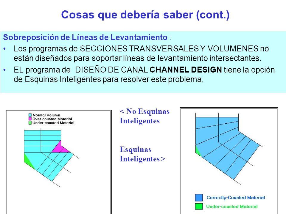 Cosas que debería saber(cont.) Falta de datos en algún tramo de la Línea de sondeo: El Programa interpolara (Línea recta) en las zonas donde donde no haya datos.