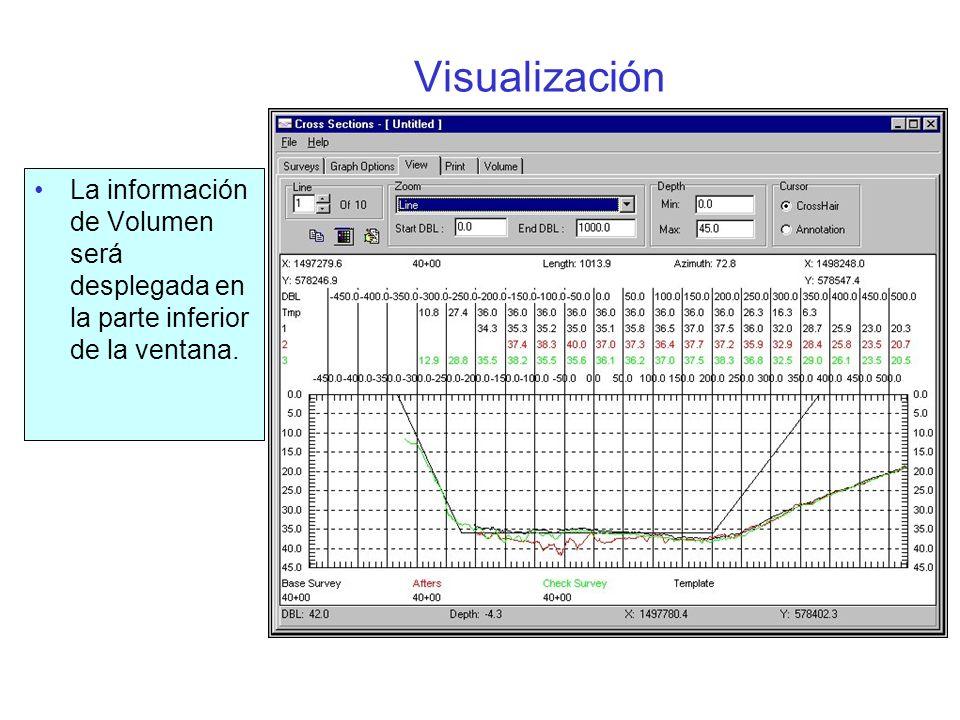Imprimir Usted puede enviar un perfil por página o múltiples perfiles( tantos como quepan en la página) El usuario especifica las escalas horizontales y verticales, incluyendo el espaciamiento entre secciones.