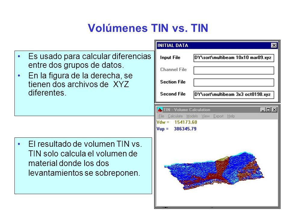 Volúmenes TIN Método Filadelfia Permite calcular volúmenes y sobredragado que son reportados línea por línea, similar a un reporte de áreas finales promedio.