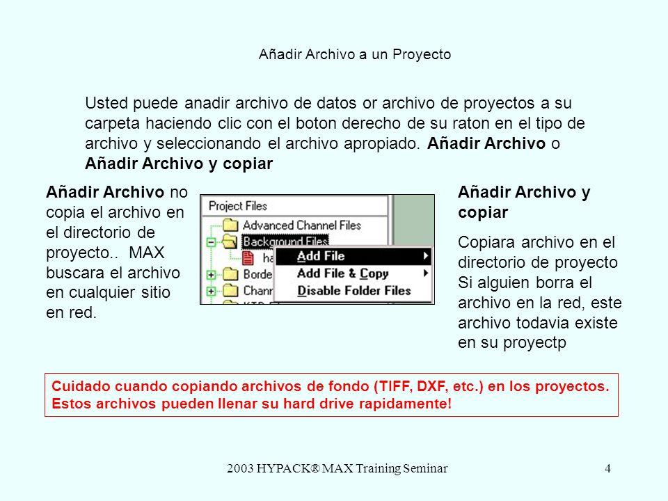 2003 HYPACK® MAX Training Seminar5 1 – El Proceso Usted puede crear un proyecto seleccionando el menu Proyectos – Nuevo Proyecto o seleccionando el icono de Nuevo Proyecto Le tendra que dar un nuevo nombre de proyecto.