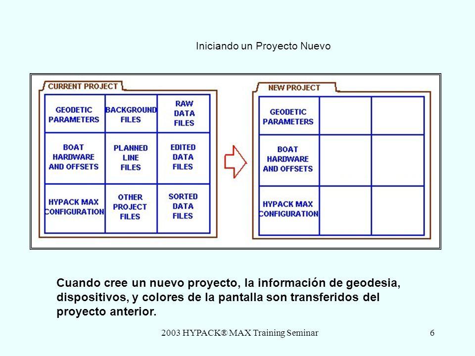 2003 HYPACK® MAX Training Seminar7 Estructura de Archivos de Proyectos Cuando usted crea un proyecto nuevo, un nuevo sub- directorio esta creado bajo el directorio \HYPACK\proyectoS.
