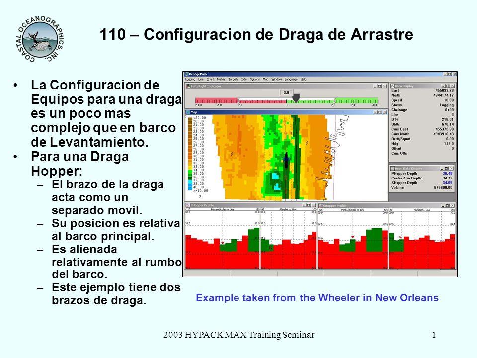2003 HYPACK MAX Training Seminar1 110 – Configuracion de Draga de Arrastre La Configuracion de Equipos para una draga es un poco mas complejo que en barco de Levantamiento.