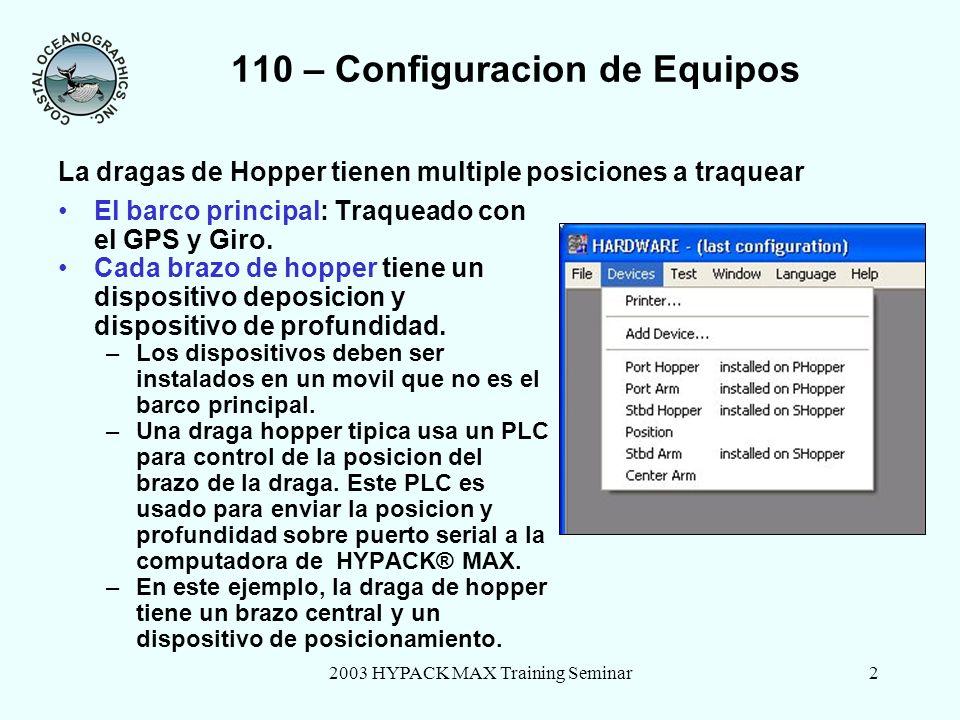 2003 HYPACK MAX Training Seminar2 110 – Configuracion de Equipos El barco principal: Traqueado con el GPS y Giro.