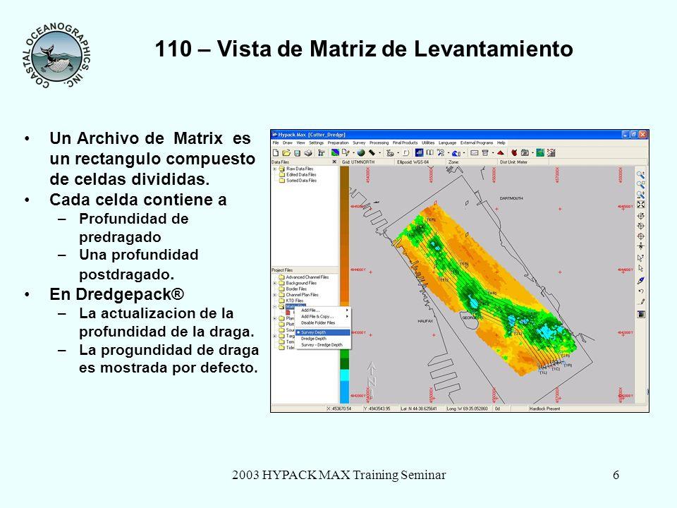 2003 HYPACK MAX Training Seminar6 110 – Vista de Matriz de Levantamiento Un Archivo de Matrix es un rectangulo compuesto de celdas divididas.