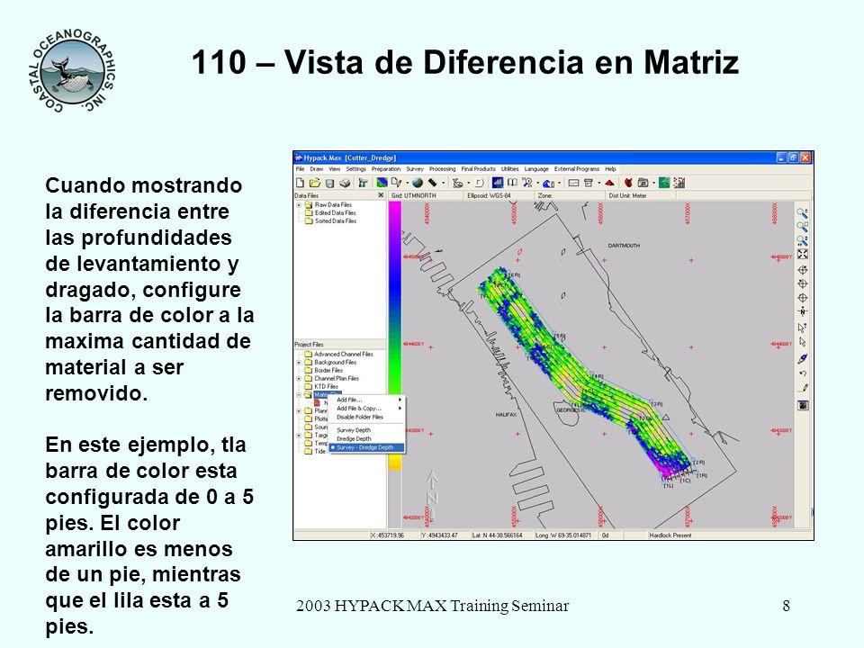 2003 HYPACK MAX Training Seminar8 110 – Vista de Diferencia en Matriz Cuando mostrando la diferencia entre las profundidades de levantamiento y dragado, configure la barra de color a la maxima cantidad de material a ser removido.