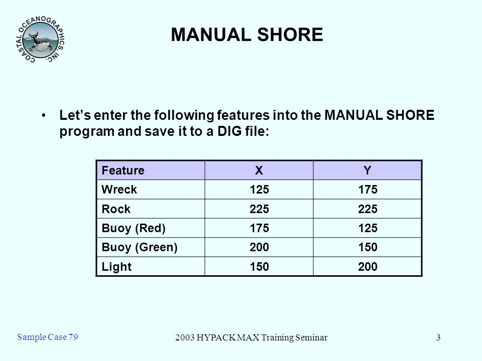 2003 HYPACK MAX Training Seminar3 Sample Case 79 MANUAL SHORE Lets enter the following features into the MANUAL SHORE program and save it to a DIG fil