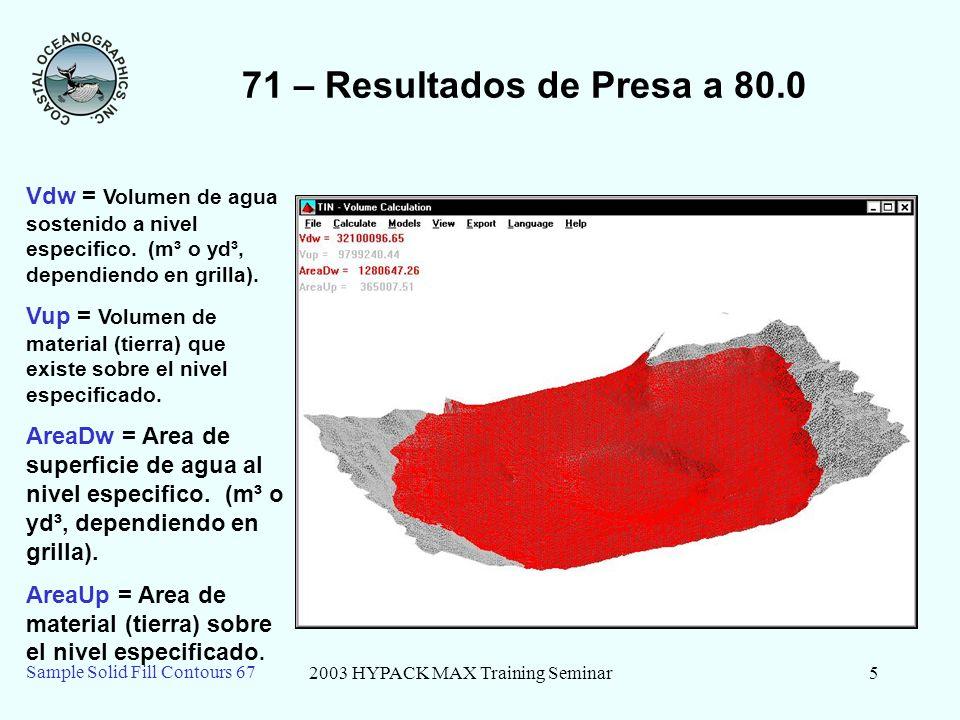 2003 HYPACK MAX Training Seminar6 Sample Solid Fill Contours 67 71 – Explicación de Materiales Rojo representa el agua..