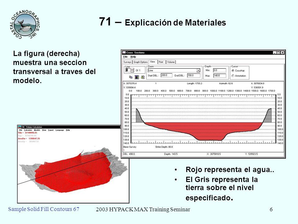 2003 HYPACK MAX Training Seminar7 Sample Solid Fill Contours 67 71 – Actualizacion del Reporte de Volumen Cada vez que se calcula un volumen, los resultados son añadidos al final del reporte de texto de MODELO TIN (Exportar – Ver Reporte)