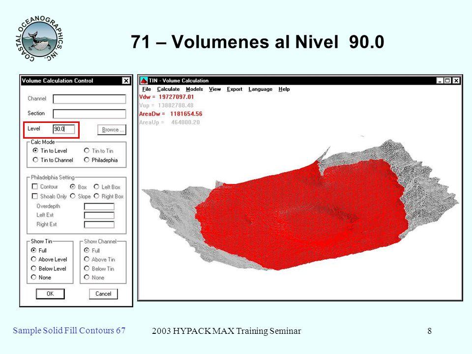 2003 HYPACK MAX Training Seminar9 Sample Solid Fill Contours 67 71 – Volumenes a Nivel 100.0