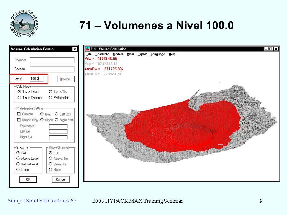 2003 HYPACK MAX Training Seminar10 Sample Solid Fill Contours 67 71 – Niveles Varios 80 100 90 110 Key: